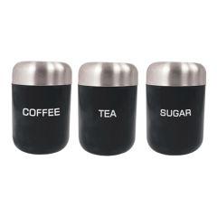 Tea Coffee Sugar Black Canister Set