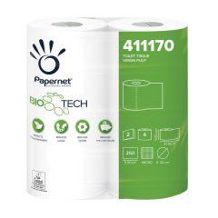 Bio Tech Single Wrap Conventional 250 Sheet Toilet Toll White 2 Ply