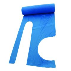 Blue Plastic Disposable Aprons On A Roll