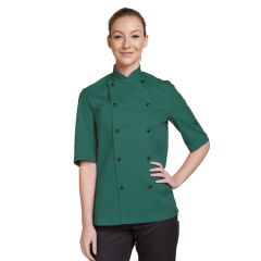 Bottle Green Short Sleeve Chef Jacket (S)