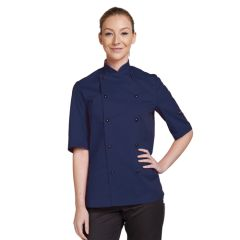 Navy Blue Short Sleeve Chef Jacket (XL)