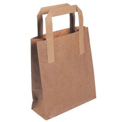 "Brown Flat Handle Paper Bags 13x10x8"" (250)"