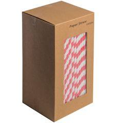 "Red Stripe Biodegradable Paper Straws 8"" (250)"