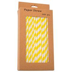 "Yellow Stripe Biodegradable Paper Straws 8"" (100)"