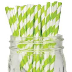 "Green & White Stripe Paper Straws 8"" (250)"