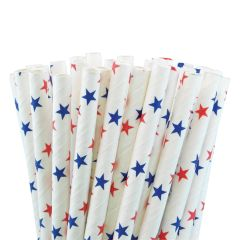 "Blue & Red Stars Paper Straws 8"" (250)"