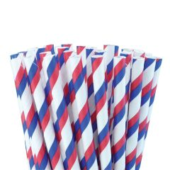 "Red/Blue/White Paper Straws 8"" (250)"
