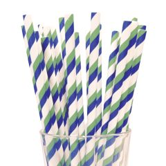 Blue/Green/White Paper Straws 8""