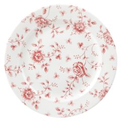 "Cranberry Rose Chintz Plate 10.9"" (6)"