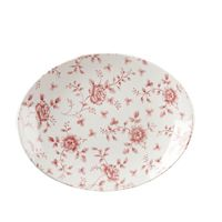"Vintage Cranberry Rose Chintz Oval Plate 12.5"" (6)"
