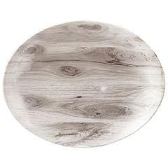 "Sepia Wood Oval Coupe Plate 7.75""x6.25"" (6)"