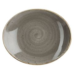 """Churchill Stonecast Peppercorn Grey Oval Coupe Plate 7.75"""" (12x1)"""