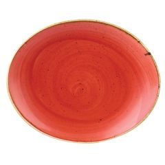 "Churchill Stonecast Berry Red Oval Plate 7.75"" (12)"