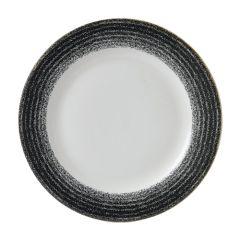 "Churchill Studio Prints Homespun Charcoal Black Rimmed Plate 10.9"" (12)"