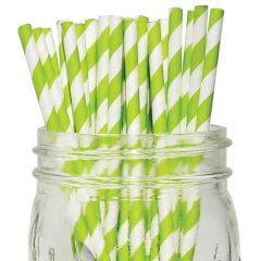 Green Stripe Paper Straws 8""