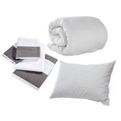 Grey Seaside Stripe Single Bedding Set Pack