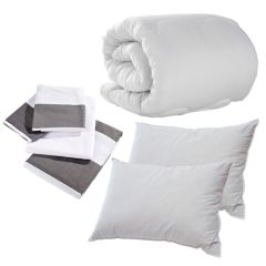 Grey Seaside Stripe Double Bedding Set Pack