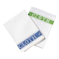 Jangro White Linen Blue Union Glass Cloth