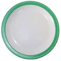 """Green Rimmed Duo Polycarb Plate 9"""" (12)"""
