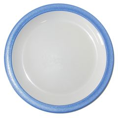 """Blue Rimmed White Polycarbonate Plate 6.7"""" (12)"""