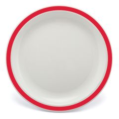 """Red Rimmed White Polycarbonate Plate 6.7"""" (12)"""