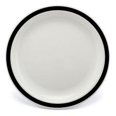"Black Rimmed White Polycarbonate Plate 6.7"" (12)"