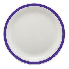"Purple Rimmed White Polycarbonate Plate 6.7"" (12)"