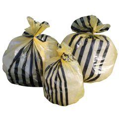 "Jangro Medium Duty Yellow Clinical Tiger Striped Sacks 18""x29""x39"" 90ltr (Roll of 250)"