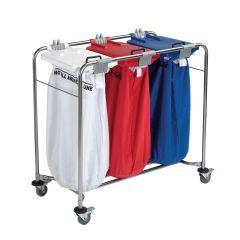 Jangro Laundry Cart With 1 White Bag, 1 Red Bag, 1 Blue Bag & Lids