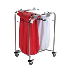 Jangro Laundry Cart With 1 White Bag, 1 Red Bag & Lids