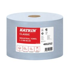 Katrin Classic Embossed Industrial Blue Wiper Roll 500 Sheet 3ply (Case of 2)