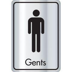 Silver & Black Gents Toilet Door Sign.