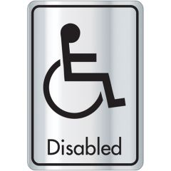Alupanel Silver & Black Disabled Toilet Door Sign.