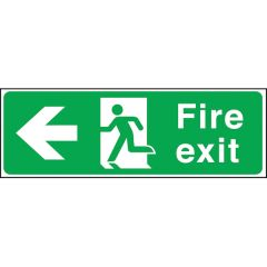 Rigid Fire Exit Sign With Running Man & Arrow Left 150x450mm