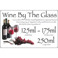 Wine By The Glass 125/175/250ml Sign