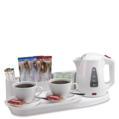 Elegance White Welcome Tray & Hotel Kettle 0.8ltr