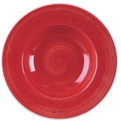 "Churchill Stonecast Berry Red Wide Rim Bowl 11"" (12)"