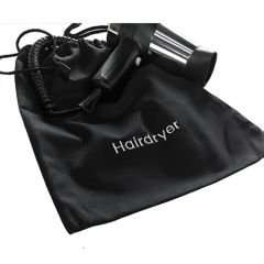 Cotton Drawstring Black Hairdryer Bag 30x40cm