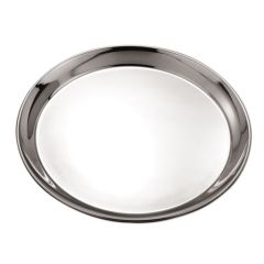 "Round Stainless Steel Tray, 14""."