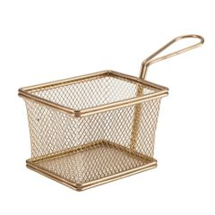 Copper Serving Fry Basket Rectangular 100mm