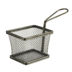 Black Serving Fry Basket Rectangular 10x8x7.5cm.