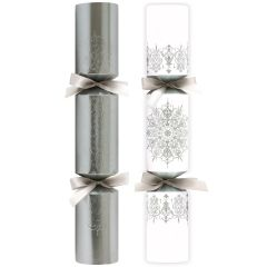 "Silver & White Embossed & Flittered Crackers 14"""