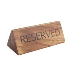 Acacia Wood Reserved Table Sign.