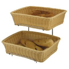 2-Piece Rectangular Basket Set With Chrome Stand.