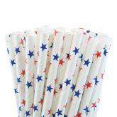 Blue & Red Stars Paper Straws 8 (250)