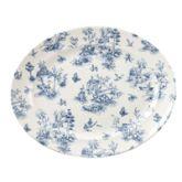 """Vintage Prague Toile Oval Rimmed Dish 14.4"""" (6)"""