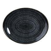 "Churchill Studio Prints Homespun Charcoal Black Oval Plate 12.5""x10"" (12)"