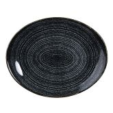 "Churchill Studio Prints Homespun Charcoal Black Oval Plate 10.6""x9"" (12)"