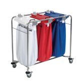Jangro Laundry Cart With 1 White Bag, 1 Red Bag, 1 Blue Bag & Lids