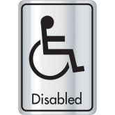 Alupanel Silver & Black Disabled Toilet Door Sign.